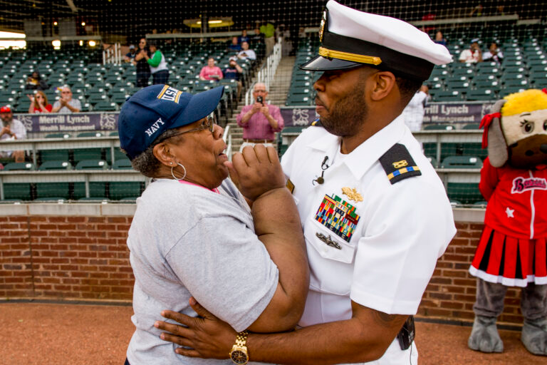 Chief Warrant Officer surprising his mother with his homecoming at the Birmingham Barons baseball game